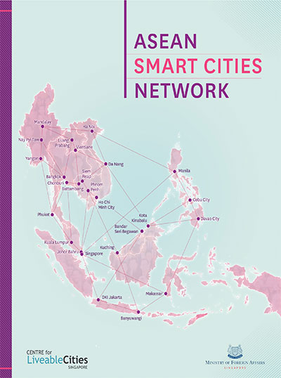 Book Cover of ASEAN Smart Cities Network, depicting a map of all the cities in the ASCN